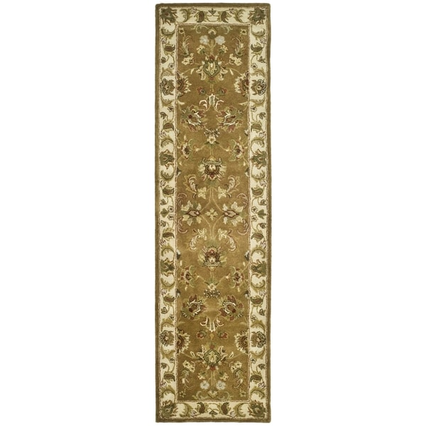 Safavieh Handmade Heritage Traditional Tabriz Mocha/ Ivory Wool Runner (2'3 x 10')