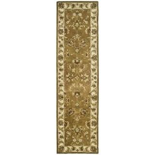 Safavieh Handmade Heritage Traditional Tabriz Mocha/ Ivory Wool Runner (2'3 x 12')