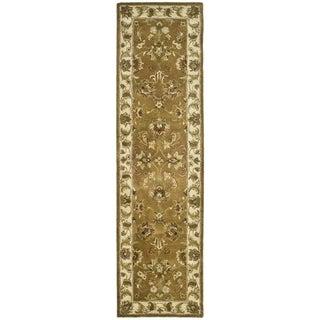 Safavieh Handmade Heritage Traditional Tabriz Mocha/ Ivory Wool Runner Rug - 2'3 x 14'
