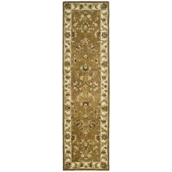 Safavieh Handmade Heritage Traditional Tabriz Mocha/ Ivory Wool Runner (2'3 x 8')