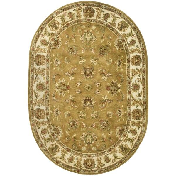 Safavieh Handmade Heritage Traditional Tabriz Mocha/ Ivory Wool Rug (4'6 x 6'6 Oval)