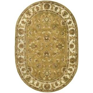 Safavieh Handmade Heritage Traditional Tabriz Mocha/ Ivory Wool Rug (7'6 x 9'6 Oval)