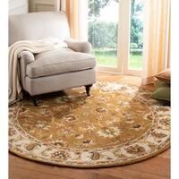 Safavieh Handmade Heritage Traditional Tabriz Mocha/ Ivory Wool Rug - 6' x 6' Round