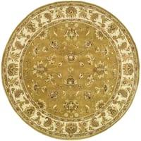 Safavieh Handmade Heritage Traditional Tabriz Mocha/ Ivory Wool Rug - 8' x 8' Round