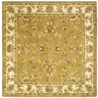 Safavieh Handmade Heritage Traditional Tabriz Mocha/ Ivory Wool Rug (6' Square)
