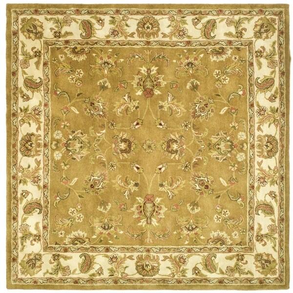 Safavieh Handmade Heritage Traditional Tabriz Mocha/ Ivory Wool Rug (8' Square)