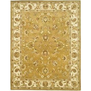 Safavieh Handmade Heritage Traditional Tabriz Mocha/ Ivory Wool Rug (9'6 x 13'6)