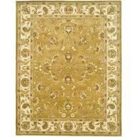 Safavieh Handmade Heritage Traditional Tabriz Mocha/ Ivory Wool Rug - 9'6 x 13'6