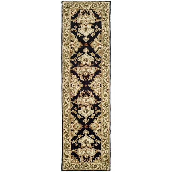 Safavieh Handmade Heritage Timeless Traditional Black/ Ivory Wool Runner (2'3 x 4')