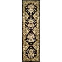 Safavieh Handmade Heritage Timeless Traditional Black/ Ivory Wool Runner (2'3 x 12')