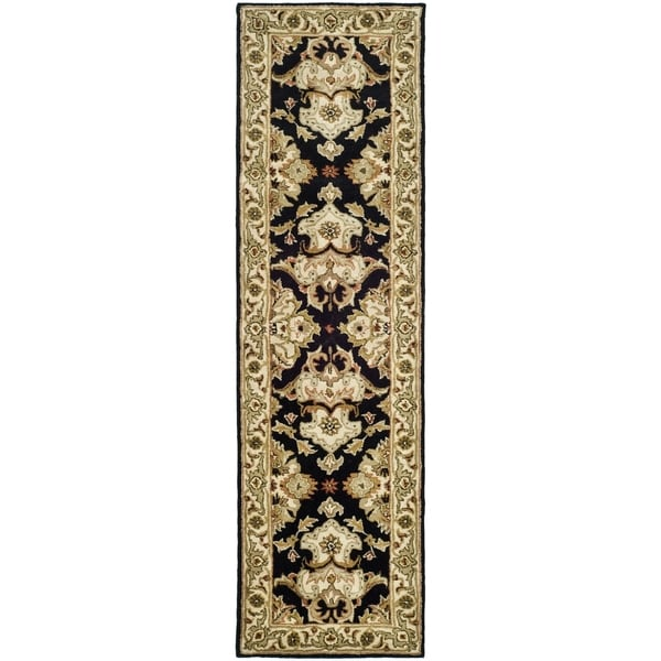 Safavieh Handmade Heritage Timeless Traditional Black/ Ivory Wool Runner (2'3 x 12')