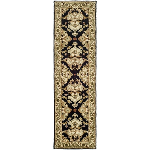 Safavieh Handmade Heritage Timeless Traditional Black/ Ivory Wool Runner (2'3 x 14')
