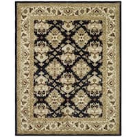 Safavieh Handmade Heritage Timeless Traditional Black/ Ivory Wool Rug (4' x 6')