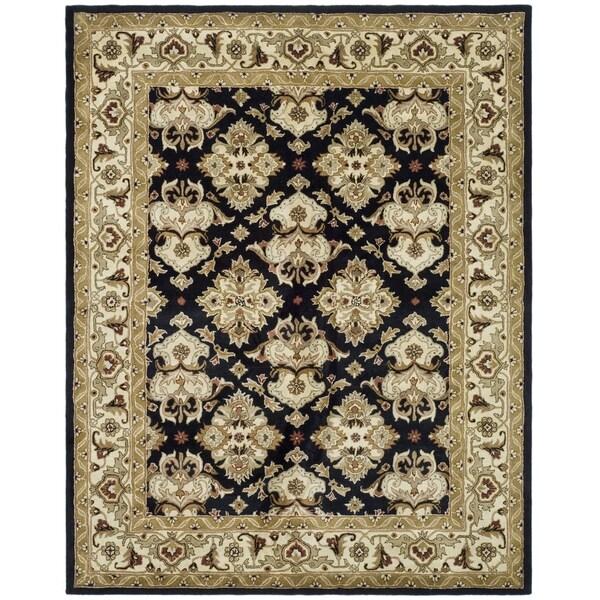 Safavieh Handmade Heritage Timeless Traditional Black/ Ivory Wool Rug - 4' x 6'