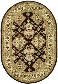 "Safavieh Handmade Heritage Timeless Traditional Black/ Ivory Wool Rug - 4'6"" x 6'6"" oval"