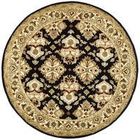 Safavieh Handmade Heritage Timeless Traditional Black/ Ivory Wool Rug - 6' x 6' Round