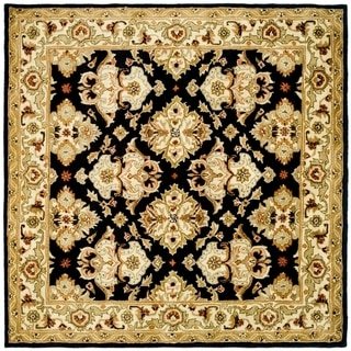 Safavieh Handmade Heritage Timeless Traditional Black/ Ivory Wool Rug (6' Square)