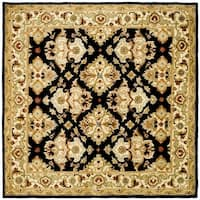 Safavieh Handmade Heritage Timeless Traditional Black/ Ivory Wool Rug - 6' x 6' Square