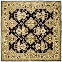 Safavieh Handmade Heritage Timeless Traditional Black/ Ivory Wool Rug (8' Square)