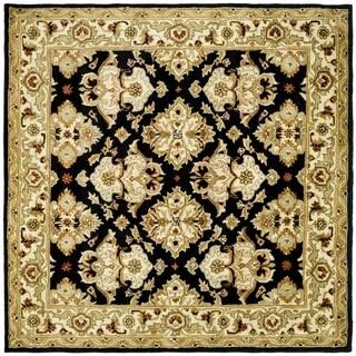 Safavieh Handmade Heritage Timeless Traditional Black/ Ivory Wool Rug (8' Square)