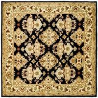 Safavieh Handmade Heritage Timeless Traditional Black/ Ivory Wool Rug - 8' x 8' Square