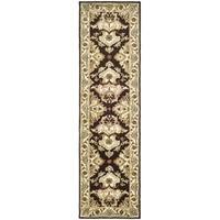Safavieh Handmade Heritage Timeless Traditional Dark Mocha/ Ivory Wool Runner Rug - 2'3 x 12'