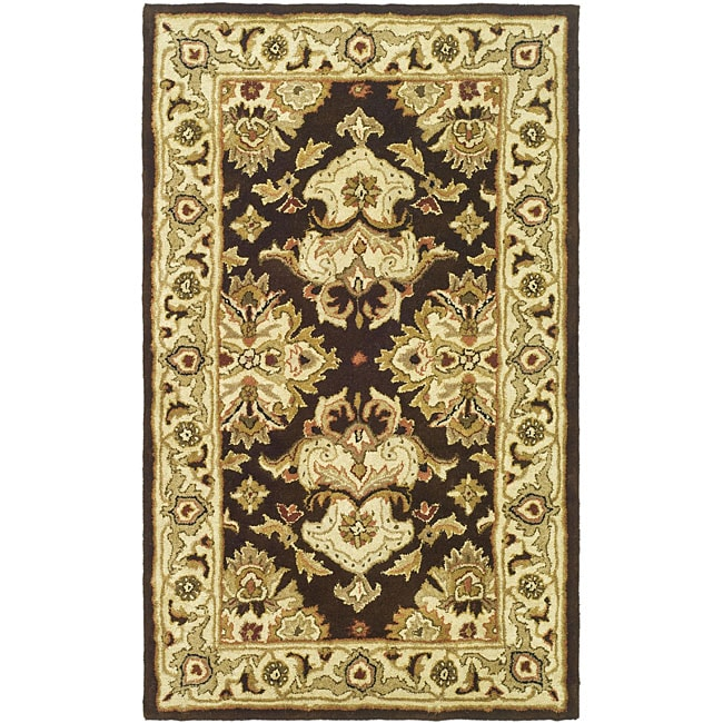 Safavieh Handmade Heritage Timeless Traditional Dark Mocha/ Ivory Wool Rug (3' x 5')