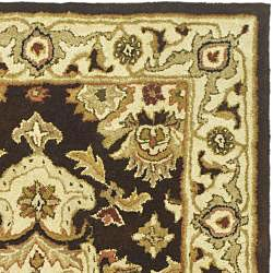 Safavieh Handmade Heritage Timeless Traditional Dark Mocha/ Ivory Wool Rug (3' x 5') - Thumbnail 1