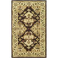 Safavieh Handmade Heritage Timeless Traditional Dark Mocha/ Ivory Wool Rug - 3' x 5'