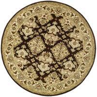 Safavieh Handmade Heritage Timeless Traditional Dark Mocha/ Ivory Wool Rug - 8' x 8' Round
