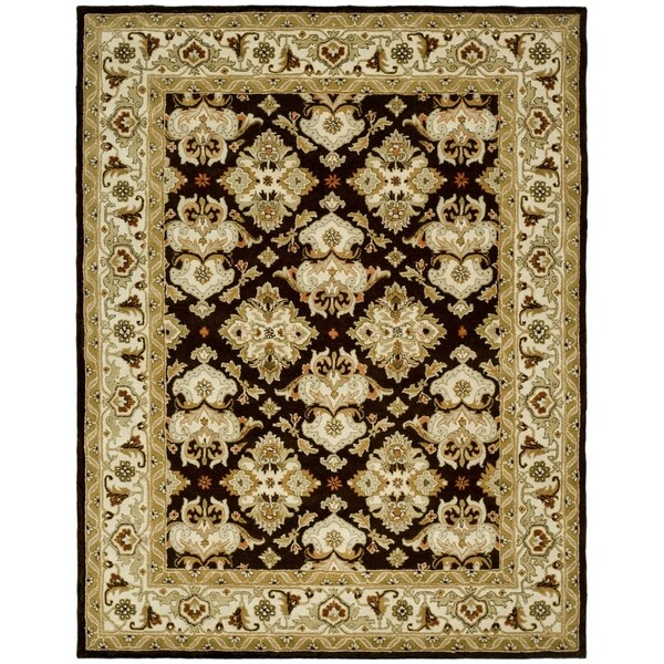 Safavieh Handmade Heritage Timeless Traditional Dark Mocha/ Ivory Wool Rug (5' x 8')
