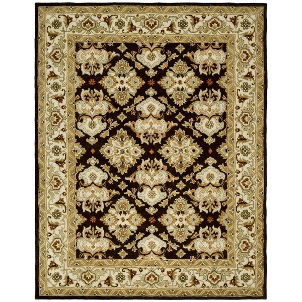 Safavieh Handmade Heritage Timeless Traditional Dark Mocha/ Ivory Wool Rug - 7'6 x 9'6