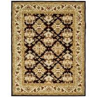 "Safavieh Handmade Heritage Timeless Traditional Dark Mocha/ Ivory Wool Rug - 7'6"" x 9'6"""
