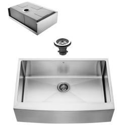 VIGO Farmhouse Stainless Steel Kitchen Sink and Faucet Set - Thumbnail 1