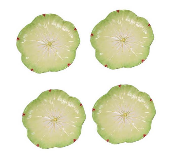 Large Green Poppy Plates (Set of 4)