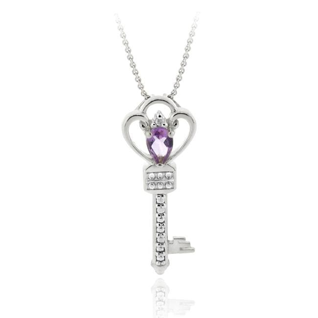 Glitzy Rocks Sterling Silver Amethyst and Diamond Accent Key Necklace