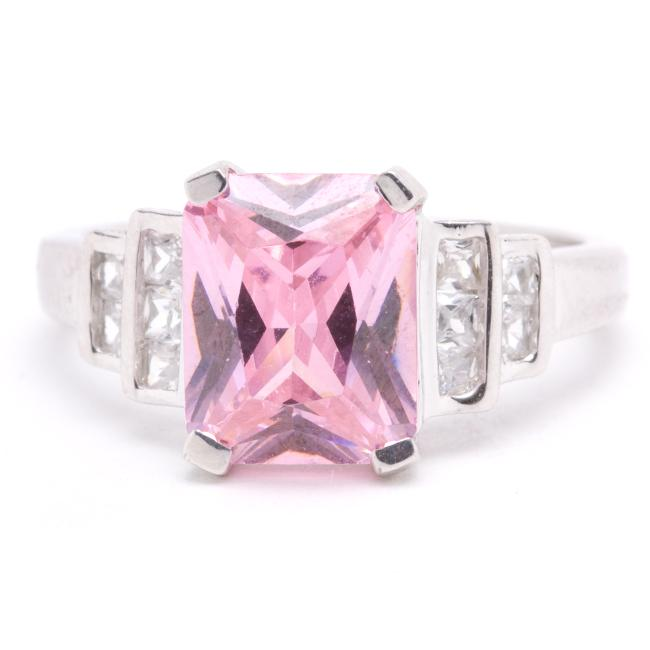 Sterling Silver Pink and Clear Cubic Zirconia Ring (Size 7)