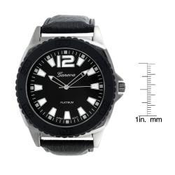 Geneva Men's Platinum Leather Round Face Watch - Thumbnail 2