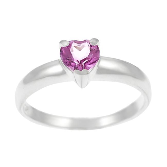 Journee Sterling Silver Heart-cut Pink Topaz Ring