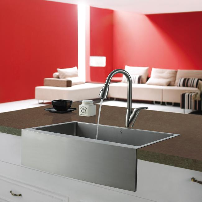 VIGO Farmhouse Stainless Steel Kitchen Sink and Faucet Set - Thumbnail 0