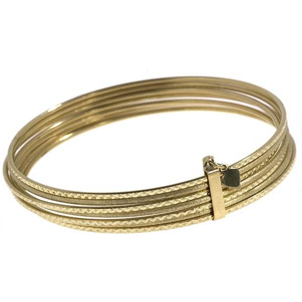14k Yellow Gold Semanario Bangle Bracelet