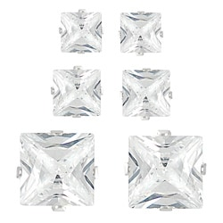 Journee Sterling Silver CZ Princess Earring Set (3 pair)