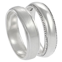 Journee Collection  Sterling Silver Satin Finish Ring Set