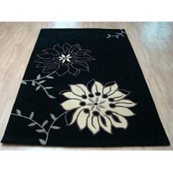Hand-tufted Saraha's Flowers Black Wool Rug (5' x 8') - Thumbnail 1