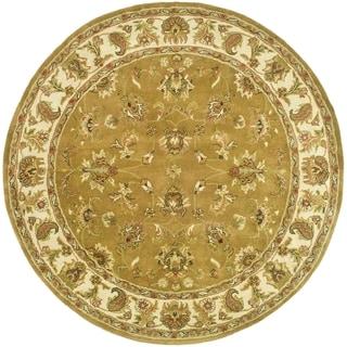 Safavieh Handmade Heritage Traditional Tabriz Mocha/ Ivory Wool Rug (3'6 Round)