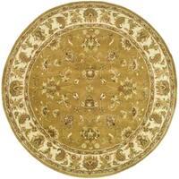 "Safavieh Handmade Heritage Traditional Tabriz Mocha/ Ivory Wool Rug - 3'6"" x 3'6"" round"