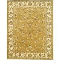 Safavieh Handmade Heritage Tabriz Mocha/ Ivory Wool Rug - 5' x 8'