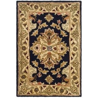 Safavieh Handmade Heritage Timeless Traditional Black/ Ivory Wool Rug (2' x 3')
