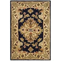 Safavieh Handmade Heritage Timeless Traditional Black/ Ivory Wool Rug - 2' x 3'