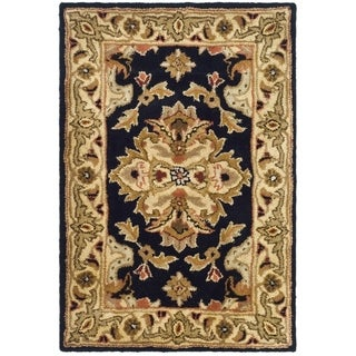 Safavieh Handmade Heritage Timeless Traditional Black/ Ivory Wool Rug - 2' X 3'